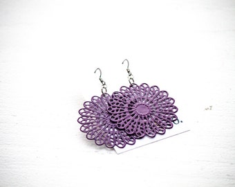 Purple Metal Filigree Dangles