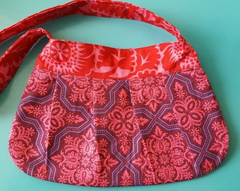 The Becca - Floral Pleated Purse Handbag Shoulder Bag Joel Dewberry Heirloom red purple blue