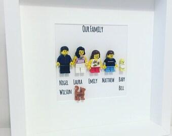 Personalised Fathers  Day Lego mini figure Family Frame. Pet. Dog. New house. Lego Baby. Cat. Customised Lego. family Lego.