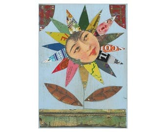 vintage tin flower, sunflower daisy art (14), small 5x7 art, primitive flower art, original tin art by Elizabeth Rosen