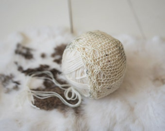 Starburst Lace Knit Bonnet Newborn Photography Prop