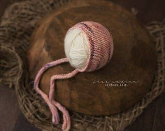 Studio Bonnet Long Knit Ties Newborn Photography Prop