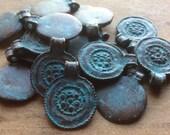 ON SALE Greek Casting Pendant Green Patina Ancient Floral Design 24mm x 19mm Qty 1
