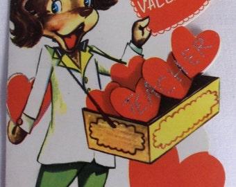 Special Sale Three Vintage 1950's Childrens Teacher Valentines Cards Dog Heart Vendor Glitter Sweet!