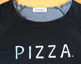 Hand Painted PIZZA Sweatshirt - M