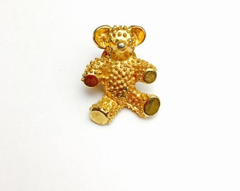 Teddy Bear bROOCH, Antique Gold Tone, vINTAGE Fine Accessory, Clearance Sale, Item No. B222