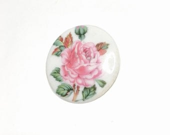 Painted  Flowers BROOCH, Round Vintage Porcelain, Shabby Chic Jewelry, Clearance Sale, Item No. B088