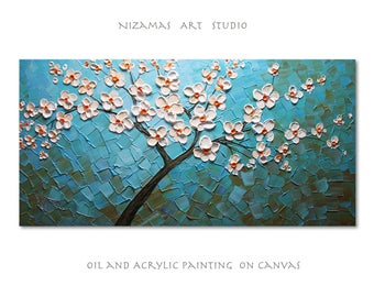 Painting on canvas Nizamas art heavy palette knife texture ready to hang