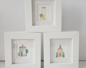 Mini Framed Water Colour House Print