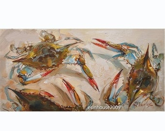 "Original oil painting blue crab canvas animals art 12x24""by X.thmoas"