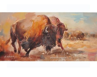 "12X24"" Western animal bison COW cattle Original Oil  Portrait Painting by X.thmoas"