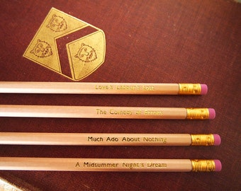 William Shakespeare set of 4 pencils from 4 classic plays.  A Midsummer Night's Dream, Much Ado About Nothing, The Comedy of Errors & Love's