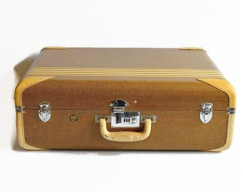 vintage Wilt striped suitcase 1940s 1950s streamlined travel luggage