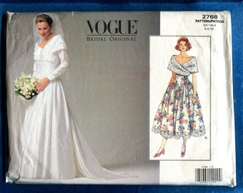 Vogue 1366 Elegant Off Shoulder Wedding Gown & Bridesmaid Dress Pattern Size 6..8..10 UNCUT