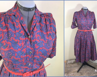 Vintage button front full half length sleeves, knee length, paisley cotton material, size large,  ladies, woman's