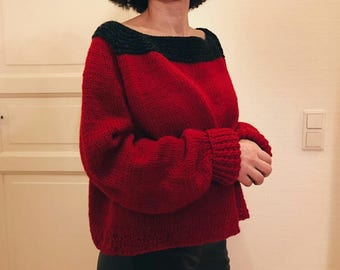oversized 100% wool hand knitted sweater