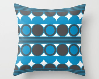 34 colours, Swedish Blue, Mid Century Modern, Geometric Circles Pillow, Charcoal Black pillow case, Indoor or Outdoor, Faux Down Insert