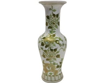 Large Scale Chinoiserie Vase, Green and Gold Tones, Andrea by Sadek