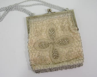 Mid Century Silver Beaded Evening Handbag Purse Made in Hong Kong