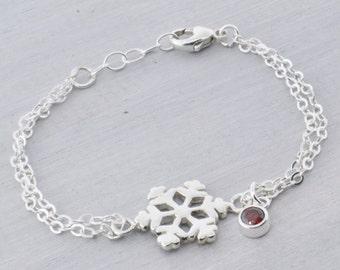 Snowflake Bracelet, Birthstone Bracelet, Snowflake Jewelry, Winter Jewelry, Silver Snowflake Charm, Charm Bracelet, Birthstone Jewelry