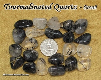 Tourmalinated Quartz tumbled stone for crystal healing — multiple sizes available