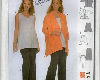 Loose Fitting Jacket Fitted Top And Pants Coordinates Size 8 10 12 14 16 18 20 22 Blouse Shirt Coat Sewing Pattern Burda 8620 Plus Size