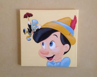 "Disney Hand Painted Acrylic Pinocchio On Canvas. 12""x 12"""