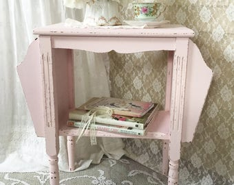 Shabby Magazine Table,Stand,End Table,bedside table, nightstand,French Farmhouse Chippy distressed,pink nursery, svfteam