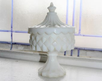 Milk Glass Footed Candy Dish with Lid Vintage 1900s
