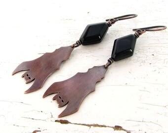 Bat Earrings, Antiqued Copper Dangle Earrings, Black Onyx Earrings