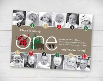 Woodland Friends Timeline 1st Birthday Invitation (Unisex) - Digital File