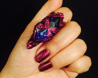 3D Large crystal claw ring, nail guard, finger tip, crystal ring, plum color filigree, sizable.