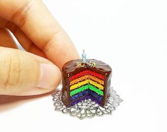 Miniature Rainbow Cake Display