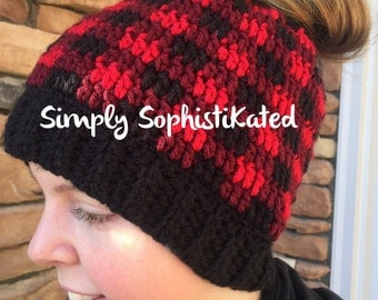 Plaid Crochet Messy Bun Hat