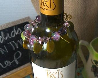Purple Glass Beads N Hearts Wine Bottle Decor