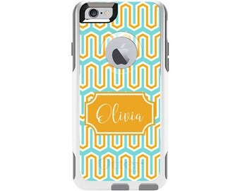Tangerine Cabana Personalized Custom Otterbox Commuter Case for iPhone 6 and iPhone 6s