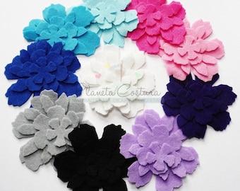 Felt Flower Shapes BLUE, set of 40 pieces, Die Cut Shapes, Applique, Confetti, Party Supply, DIY Wedding
