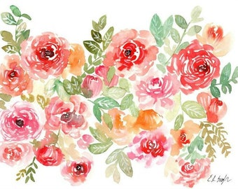 Peach and Pink Watercolor Flowers, Original Painting, 11x14, coral, red flowers, floral art, watercolor florals, spring decor, original art