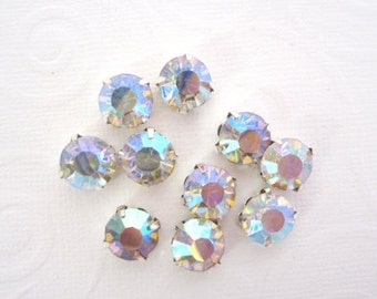 Sale 8mm Large Sew AB Rhinestones.  10 pcs