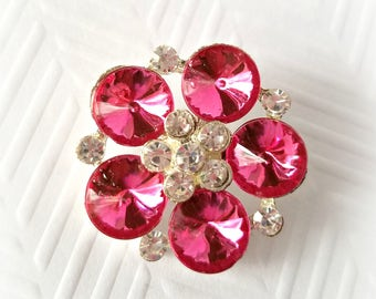 Large Hot Pink Rhinestone Buttons. 30 mm.