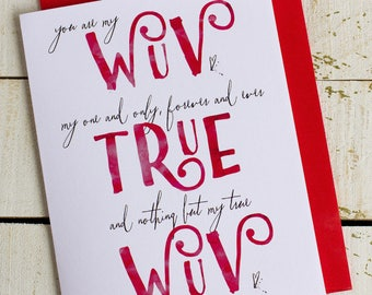 valentines greeting card - wuv true wuv greeting card - True love card - one and only card - forever and ever card - cards for sweethearts