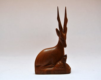 Vintage Handcarved Wooden Antelope with Calf Statue