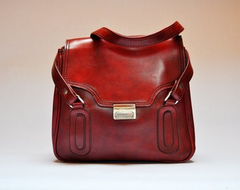 Vintage Oxblood Red Vinyl Handbag Purse
