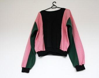 Vintage Black Pink and Green Colorblock Cotton Crewneck Sweatshirt