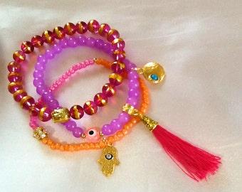 Sultana arabesque style bracelet with tassel , bohemian gypsy evil eye and Hamsa bracelet with tassel , indie nomad bracelet