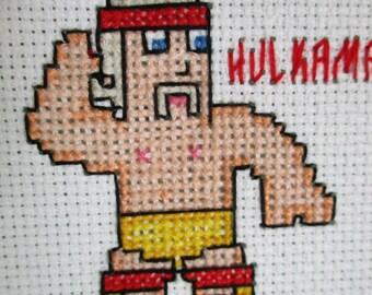 Completed Hulk Hogan Mini Cross Stitch