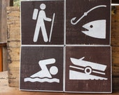 CHOOSE ANY 4 - National Park signs wood sign fishing gifts hiker gifts gifts for outdoorsman mountain signs Montana wood signs