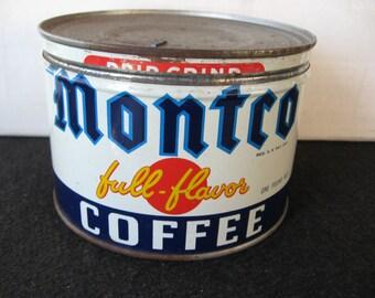 Vintage Montco 1 LB Key Wind Coffee Tin