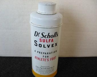 Vintage Dr. Scholl's Sulfa Solvex Athlete's  Foot Powder Tin