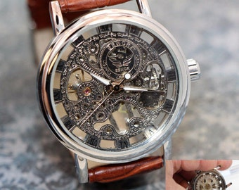 Personalized Engraved  Steampunk Watch, clear front to see the gears and movements, brown leather band, comes in gift box!